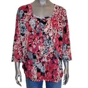 Croft & Barrow Floral Ruffled Front Blouse